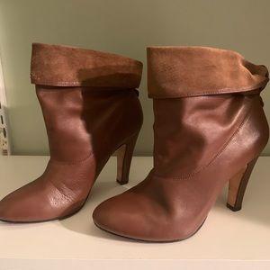 🌼 Ann Taylor Genuine Leather Cognac Booties 8.5